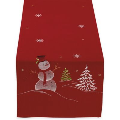 Embroidered Snowman 70-Inch Table Runner in Red