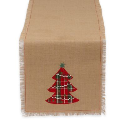 Plaid Christmas Tree Embroidered 72-Inch Table Runner