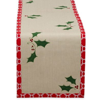 Holly Jolly 72-Inch Printed Table Runner in Red/Green