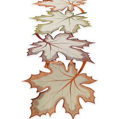 Maple Leaves Embroidered 70-Inch Table Runner