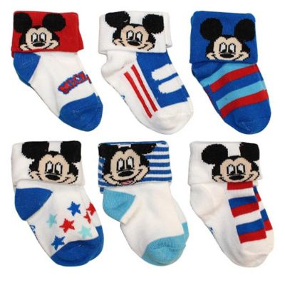 Disney® Size 0-6M 6-Pack Mickey Mouse Socks in Assorted Designs