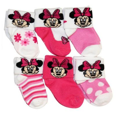 Disney® Size 0-6M 6-Pack Minnie Mouse Socks in Assorted Designs