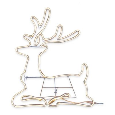 36-Inch Neon Flex Wire Sitting Reindeer Outdoor Decoration in White