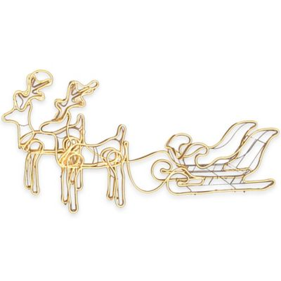 36-Inch Neon Flex Wire Double Reindeer with Sleigh Outdoor Decoration in White