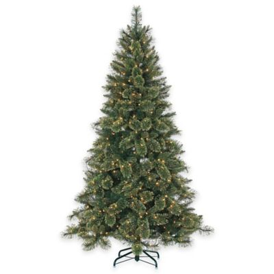 7-1/2-Foot Pre-Lit Mixed Needle Gold Glitter Cashmere Pine Christmas Tree with Clear Lights