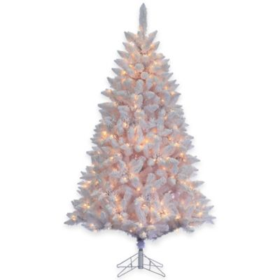 7-Foot Pre-Lit Flocked White Fairmont Pine Christmas Tree with Clear Lights