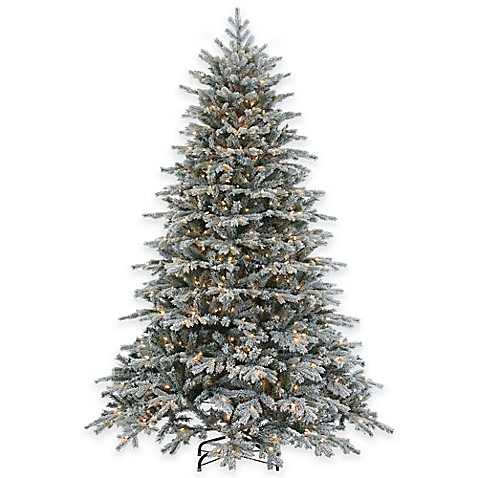 7 5 foot pre lit flocked vermont spruce christmas tree. Black Bedroom Furniture Sets. Home Design Ideas