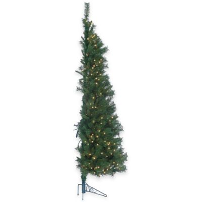 7-Foot Pre-Lit Tiffany Pine Wall Christmas Tree with Clear Lights
