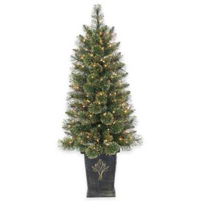 4.5-Foot Pre-Lit Potted Gold Glitter Cashmere Pine Christmas Tree with Clear Lights