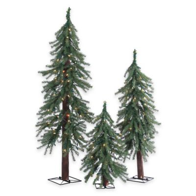 Alpine Pre-Lit 3-Piece Slim Christmas Tree Set with Clear Lights
