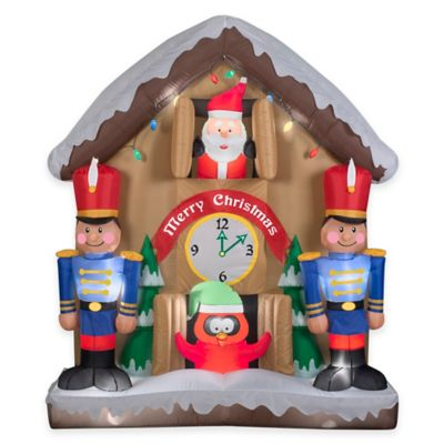 6.5-Foot Animated Inflatable Santa Clock Scene Holiday Lawn Ornament