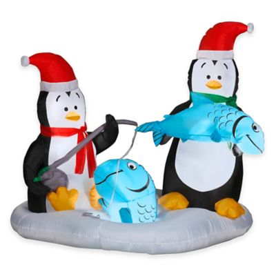 55-Inch Animated Inflatable Penguins Fishing Holiday Lawn Ornament