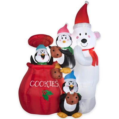 6.5-Foot Animated Inflatable Cookie Jar and Friends Holiday Lawn Ornament