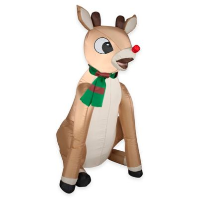 3-Foot Inflatable Outdoor Rudolph the Red Nosed Reindeer Holiday Lawn Ornament