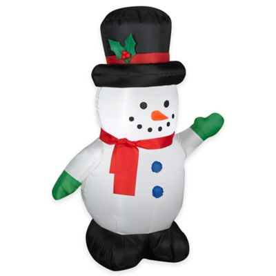 3.5-Foot Inflatable Outdoor Snowman with Top Hat Holiday Lawn Ornament