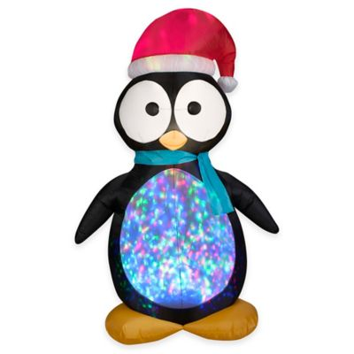 7.5-Foot Inflatable Outdoor Projection Kaliedoscopre Penguin Holiday Lawn Ornament
