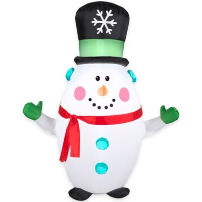 3.5-Foot Inflatable Outdoor Happy Snowman with Snowflake Top Hat Holiday Lawn Ornament