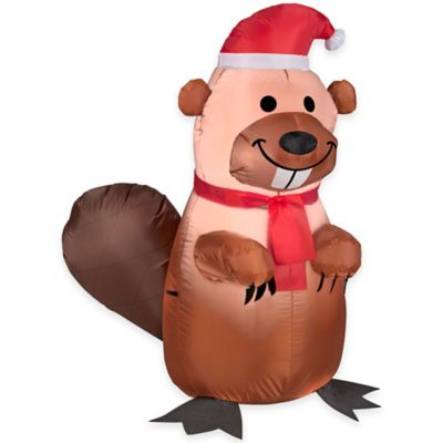 3.5-Foot Inflatable Outdoor Holiday Beaver with Santa Hat Holiday Lawn Ornament