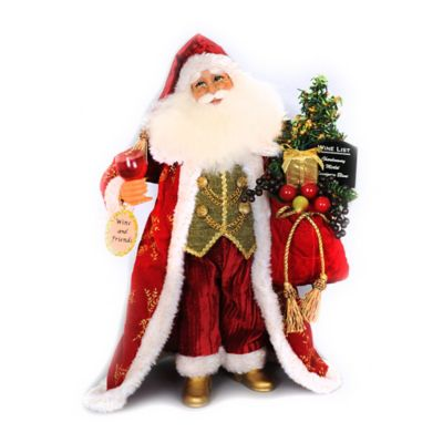 17-Inch Lighted Wine and Friends Santa Figurine
