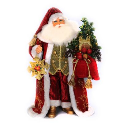 16-Inch Traditional Santa with Tassels Figurine
