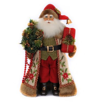 17-Inch Lighted Woodland Embroidery Santa Figurine