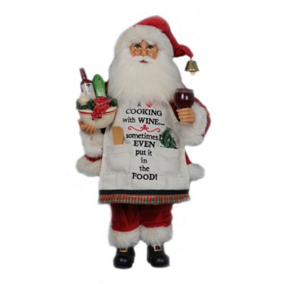 17-Inch Cooking with Wine Santa Figurine