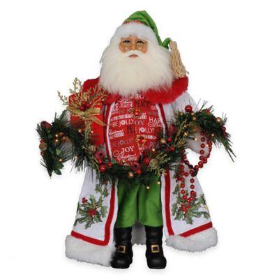 17-Inch Lighted Holly Sparkle Santa Figurine