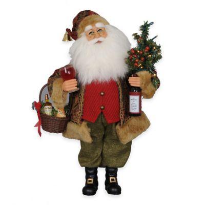 17-Inch Lighted Wine Santa Figurine