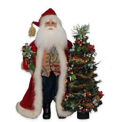 17-Inch Lighted Santa with Tree Figurine