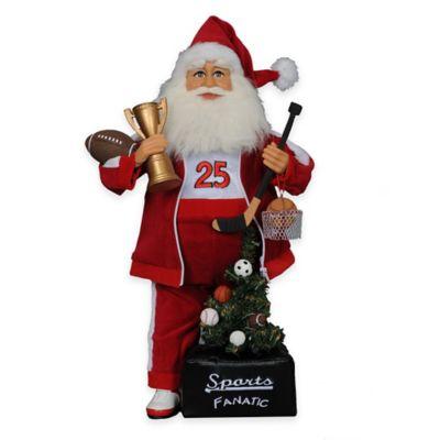 17-Inch Sports Fanatic Santa Figurine