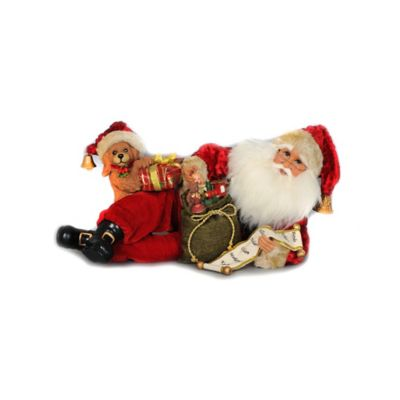 17-Inch Laying Down Santa with Toys Figurine