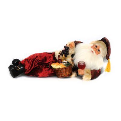 17-Inch Reclining Wine Santa Figurine