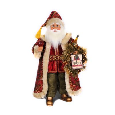 Lighted Wine with Wreath Santa Figurine