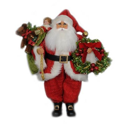 18.5-Inch Wreath and Gifts Santa Figurine