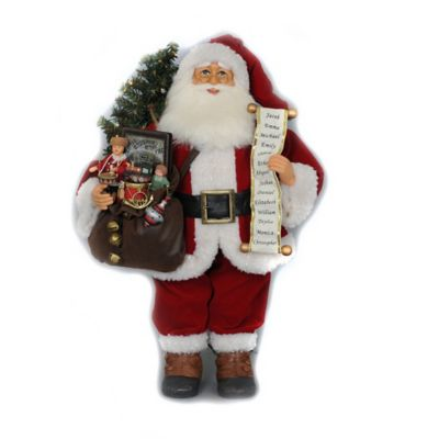 20-Inch Lighted Vintage Gift Bag Santa Figurine