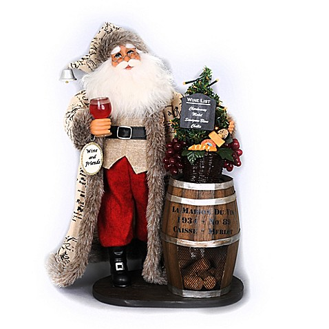 18 Inch Lighted Wine Barrel Santa Figurine Www