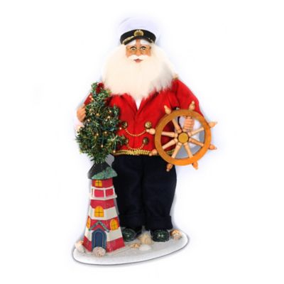 20-Inch Lighted Lighthouse Captain Santa Figurine