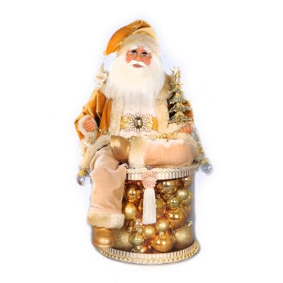 19-Inch Lighted Golden Christmas Shine Santa Figurine