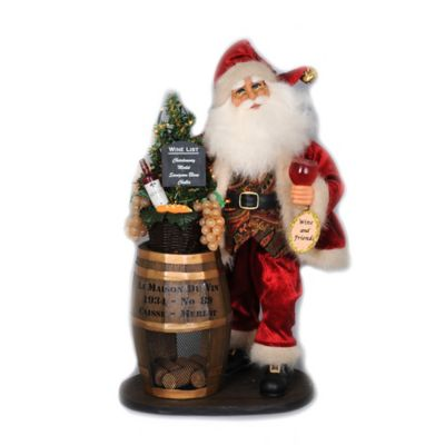 17-Inch Traditional Wine Barrel Santa Figurine