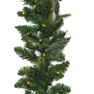 9-Foot Pre-Lit Battery Operated Aspen Garland with LED Lights