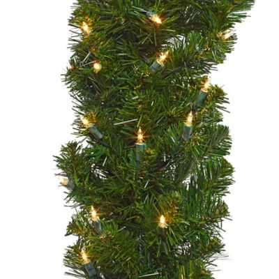 6-Foot Pre-Lit Middleton Battery Operated Pine Garland with Clear Lights