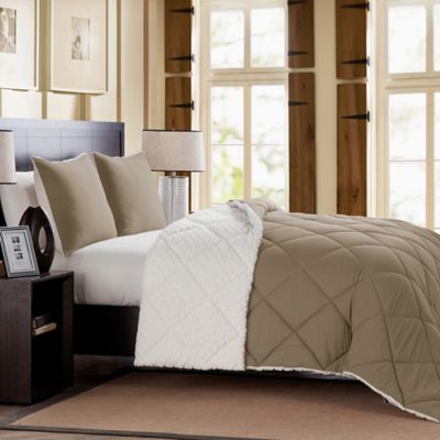 Mélange Fur Reversible Full/Queen Comforter Set in Grey
