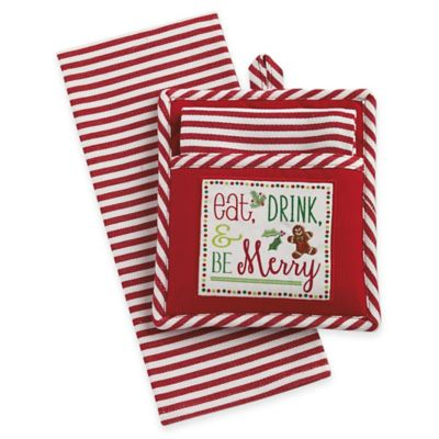 Be Merry 2-Piece Pot Holder and Kitchen Towel Gift Set