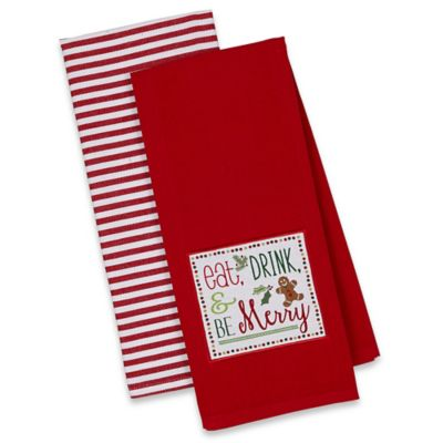 Be Merry Owl Embroidered Holiday Kitchen Towels (Set of 2)
