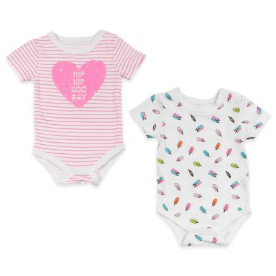 """AMY COE Size 0-3M 2-Pack """"Hooray""""/Popsicle Bodysuits in Pink/Multicolor"""