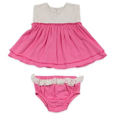 AMY COE Size 0-3M 2-Piece Lace-Topped Dress and Diaper Cover Set in White/Pink