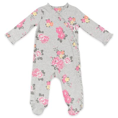AMY COE Size 6-9M Kimono Floral Ruffled Footie in Grey/Pink