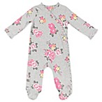 AMY COE Size 3-6M Kimono Floral Ruffled Footie in Grey/Pink