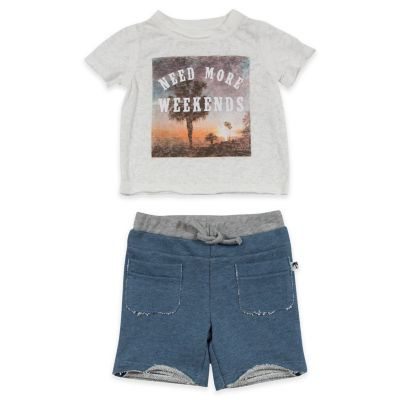 """AMY COE Size 0-3M 2-Piece """"Need More Weekend"""" T-Shirt and Jersey Short Set"""