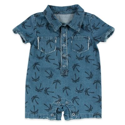 AMY COE Size 0-3M Denim Palm Tree Romper with Pockets